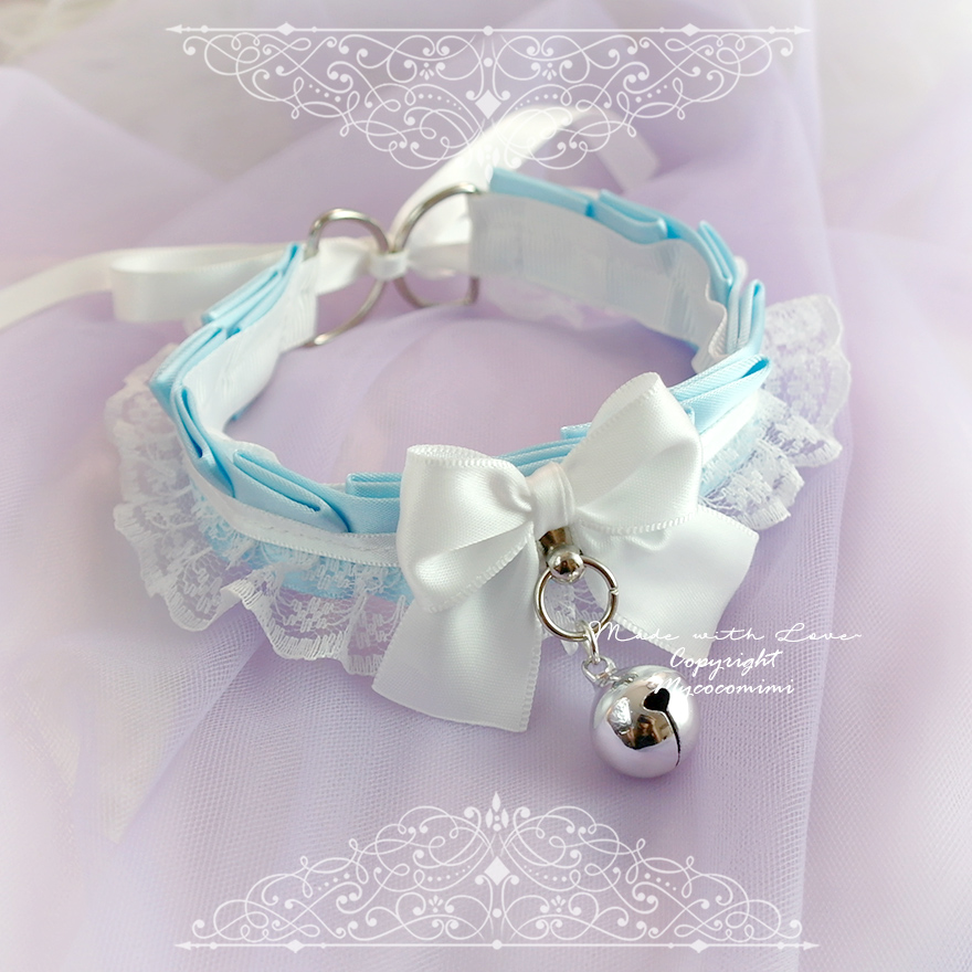 Ddlg Collar Blue Arrow Kitten Play Collar Navy /& white ruffled Victorian choker with big 30x40 brooch and red bow to tie BDSM