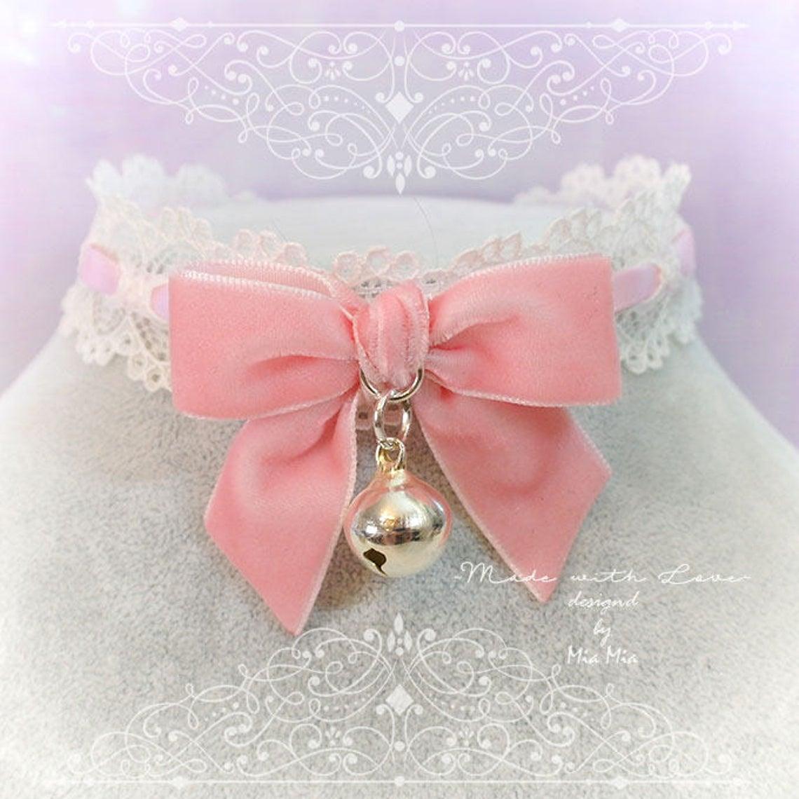 velvet choker necklace satin velvet kitten play collar ddlg collar lolita princess collar day collar kawaii bell choker kittenplay collar G1